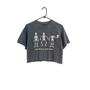 Grunge Black Cropped Halloween Skeletons Crew Tee